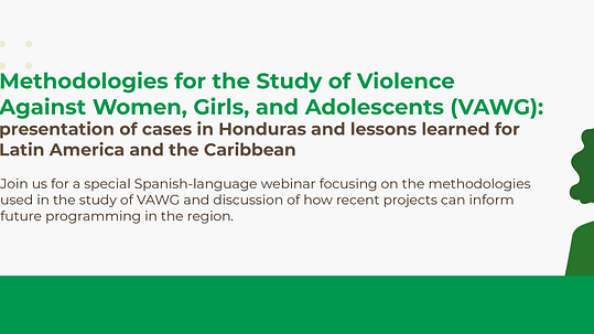 Image of a video camera next to text which reads: Methodologies for the study of violence against women, girls, and adolescents (VAWG). There is also an illustration of 5 women of different appearances.