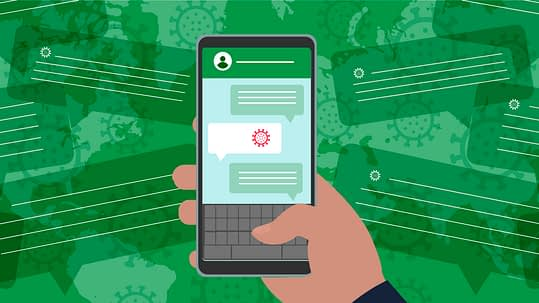 Illustration of a hand holding a mobile phone receiving disinformation about COVID-19. The background is green and there are messages, COVID molecules, and a world map layered over each other.