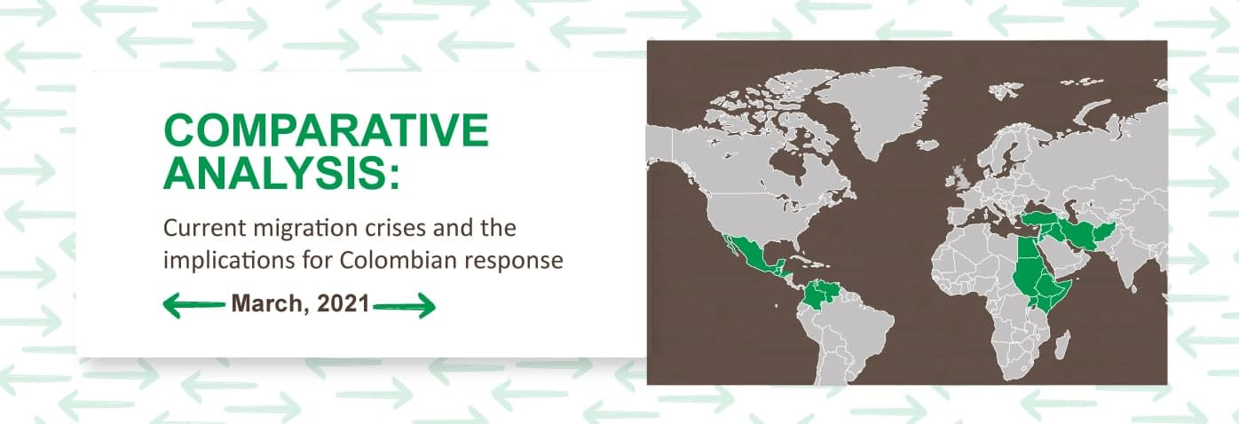 "Front cover of the report. Includes text ""Comparative Analysis: current migration crises and the implication for Colombian response. March 2021"" Includes map of the world in brown with green areas marked to show the regions under focus."